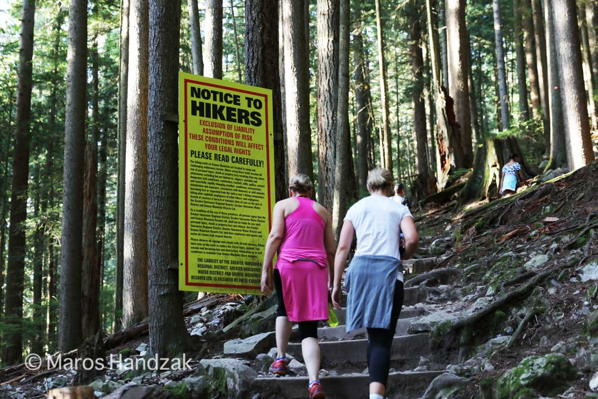 Grouse Mountain - Yellow Billboard NOTICE TO HIKERS