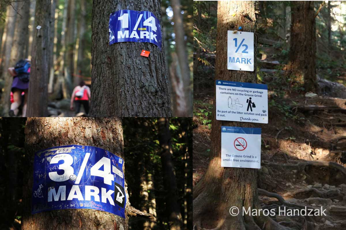 Grouse Mountain Trail - Quarter Mark Signs